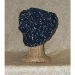 Navy Blue Heather Pebbles Hand Knit Cap