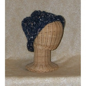 Navy Blue Heather Pebbles Hand Knit Cap