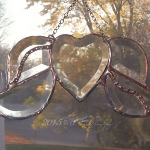 Stained Glass Clear Beveled Heart With Wings Soldered Art Sun-Catcher