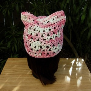 Women's Summer Pussy Cat Hat, Light Pink & White PussyHat, 100% Cotton Lightweight Lace Crochet Knit Thin Warm Weather Beanie, Ready to Ship in 2 Days
