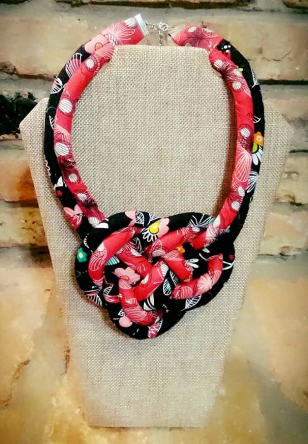 Red & Black Fabric Double Strand knot Necklace, Boho Fabric Jewelry, Tribal Jewelry, Boho Fabric Necklace, Tribal Double Strand Necklace