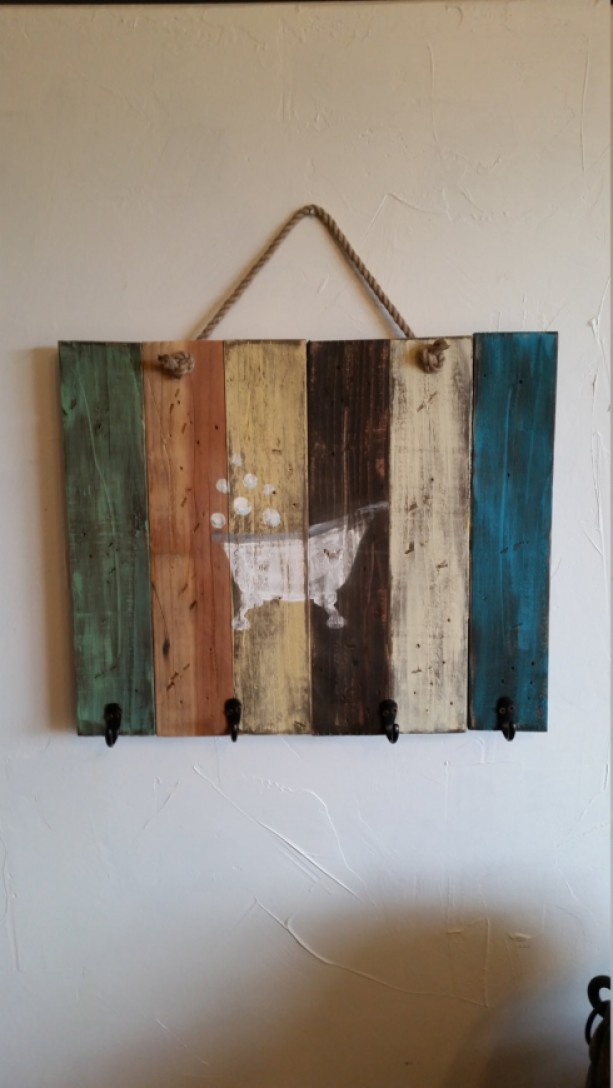 Rustic, handmade wall hanging for bathroom