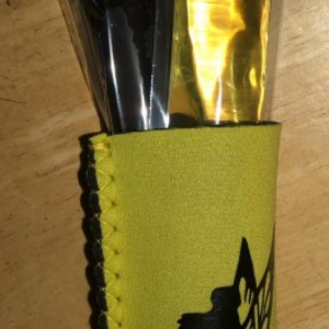Yellow Neoprene Freeze Pop Holder with Tinkerbell and 2 freeze pops handmade