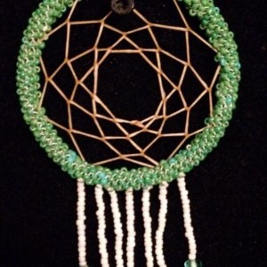 Green and White Dream Catcher with Beaded Fringe