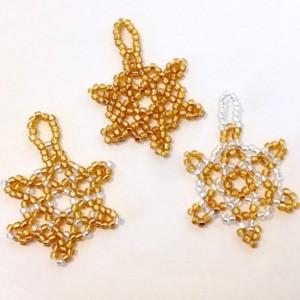 3 Snowflake Ornaments, Gold and Silver Beaded Christmas Ornaments, Christmas Tree Decoration, Handmade Holiday Ornament, Christmas Gift Wrap