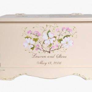 Wedding keepsake chest personalized card box - Dogwood wedding gift