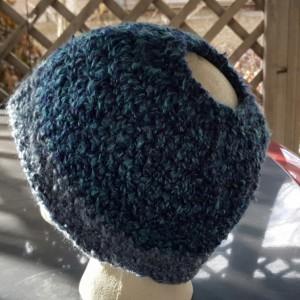 Messy Bun Beanie - Blue and Grey