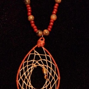 Polished Wood and Bead Dream Catcher Necklace