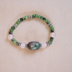 Green Pink Agate Rose Quartz Bracelet