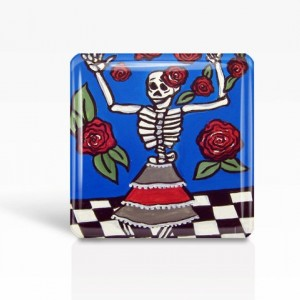 "Mexican Folk Art- Day of the Dead/Dancing Skeleton - Glass MAGNET By Artist A.V.Apostle- 2""x 2"""