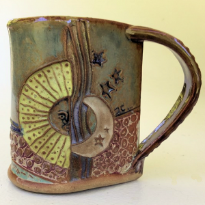 Sun and Moon Pottery Mug Coffee Cup Handmade Functinal
