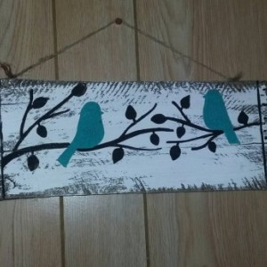 Birds on a limb sign, teal bird wooden sign, small birds wood sign, birds in trees wall art, bird home decor, bird painting, small sign gift