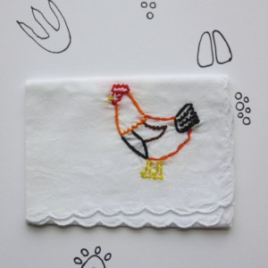 Embroidered Chicken Gift Hankie Handmade Chicken Original Hand Embroidery by wrenbirdarts