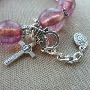 One Decade Rosary Bracelet of Pink Beads and Silver Findings