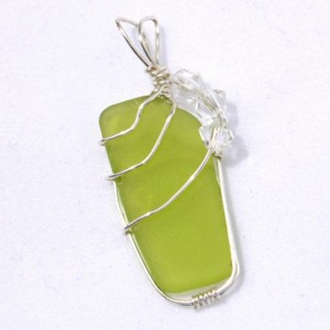 Green sea glass pendant, wire wrapped sea glass pendant, beach glass jewelry, sea glass jewelry, summer jewelry, jewelry for women