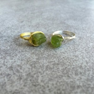 Raw Peridot Wire Wrapped Ring in Copper, Gold, or Silver