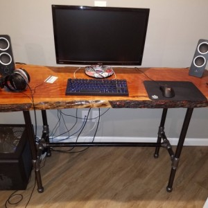 "Black Pipe COMPUTER DESK Table Frame ""DIY"" Parts Kit-- 1"" x 66"" long x 22"" wide x 28"" tall"