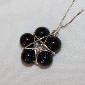 Wire Wrapped Star Pendant, Blue Goldstone Pendant, Pentagram, Goldstone Necklace, wiccan jewelry