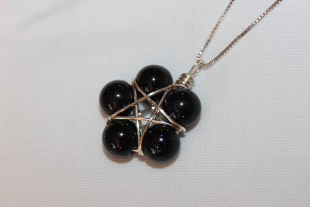Star Blue Goldstone Pendant, Pentagram Necklace, wiccan jewelry ...