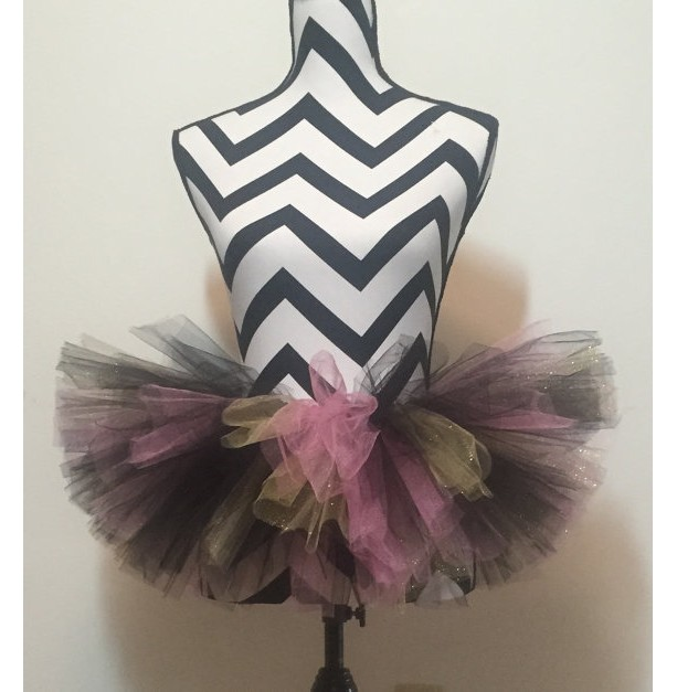 Uptown Girl Black, Gold, and Pink Sparkle Tutu - Teen & Adult Sized