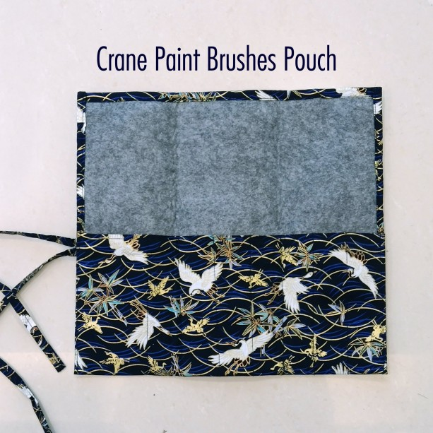 Unique Birthday Gift, Crane Paint Brushes Pouch - Watercolor Brushes Wraps, Blue Artist Roll, Brushes Holder, Brush Roll, Gift for Painters