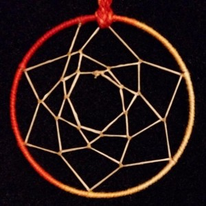 Small Sunburst Orange Dream Catcher