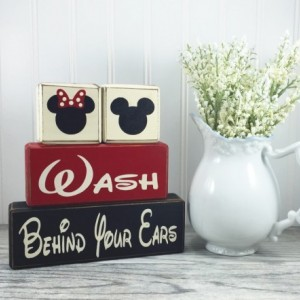 ... Mickey Mouse Minnie Mouse Bathroom Decor Kids Bath Wash Behind Your  Ears, Wash Your Hands ...