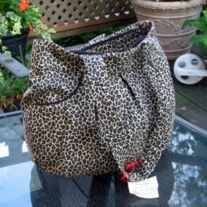 Cheetah Pleated  Fabric Handbag
