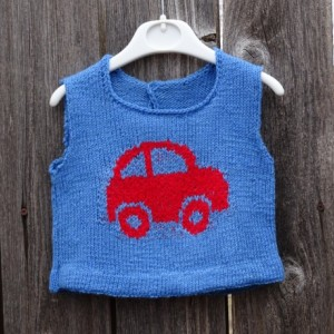 Hand Knit Vest, Blue Knitted Vest, Vest for Baby 9-12 Months, Baby Top, Knitted Baby Boy Vest, Vest with Car, All Handmade,  Ready to Ship