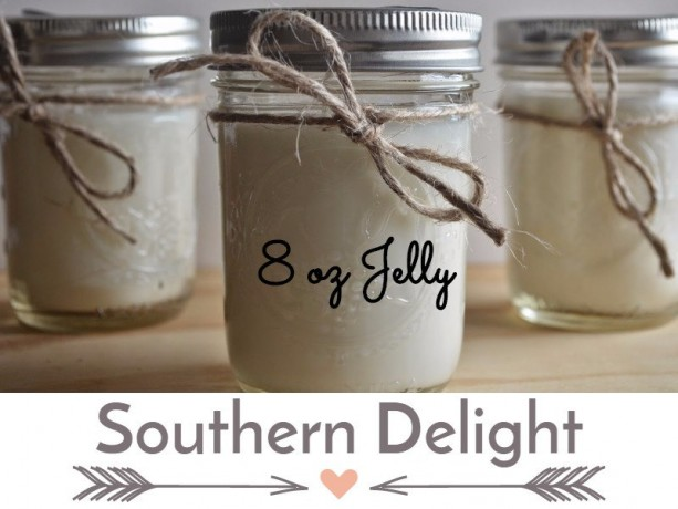 Southern Delight 8 ounce  Scented Handcrafted Soy Candle Jelly Jar