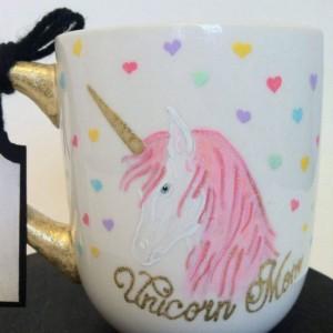 Unicorn Mom This Is Wine Hand Painted 12 oz Coffee cup mug