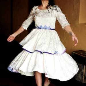 Savannah - 1950s Reworked Vintage Short Brocade Wedding Dress/ White & Purple/ Two Tier Ruffled Skirt/ Sleeves/One of a Kind