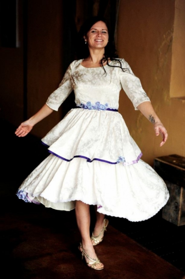 Savannah - 1950s Reworked Vintage Short Brocade Wedding Dress/ Wh ...