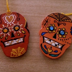 "SUGAR SKULL ORNAMENTS -  ""DAY OF THE DEAD""  Version 2 – SET OF 2, HANDMADE, OOAK"