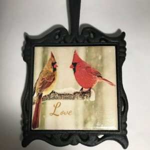 Custom Trivet-Ceramic Tile Trivet-Cardinals Trivet-Cast Iron Square Holder with Handle-Kitchen and Dining-Kitchenware-Personalized Trivet