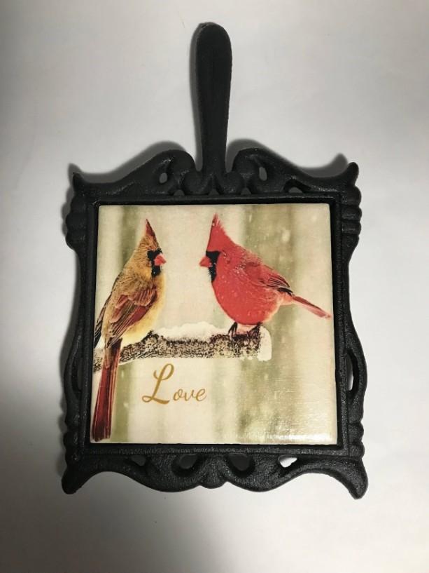 Custom Trivet-Ceramic Tile Trivet-Cardinals Trivet-Cast Iron Square Holder with Handle-Kitchen and Dining-Kitchenware-Personalized Trivet