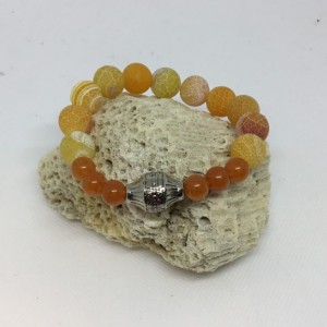 Bracelet orange, bead bar bracelet, beach wear bracelet, perfect for her, you need this for Mother's Day, frosted agate bracelet