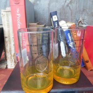 Ciroc Bottle  Upcycled Tumbler Glasses, Set of 2, Yellow