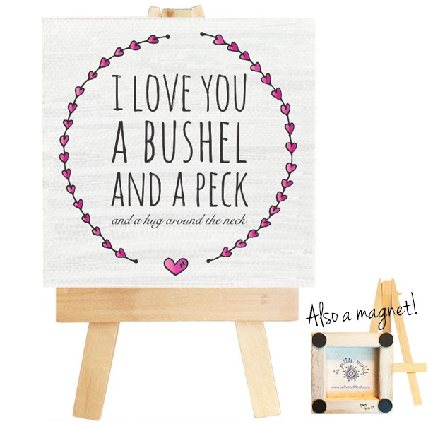 I Love You a Bushel and a Peck mini canvas magnet. Bushel and a Peck quote, Nursery Decor, Doris Day, bushel and peck magnet, bushel sign