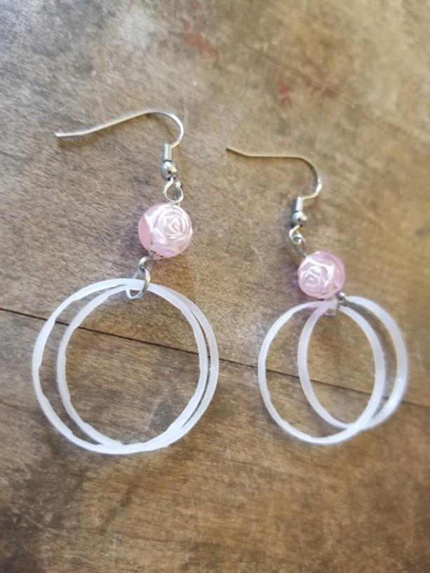 Bottle Cap Ring Rose Earrings