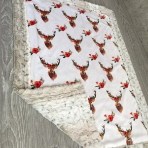 ShipsNow All Minky Baby Blanket Deer Floral Toddler Childrens