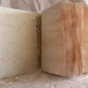 Handmade Shabby Chic Handmade Junk Journal with Handmade Parchment Paper in White and Cream