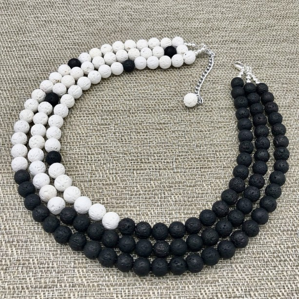 White and Black LAVA Statement Necklace, Chunky Necklace, Bead Necklace, Multi Strand White and Black Statement Necklace, Statement Necklace