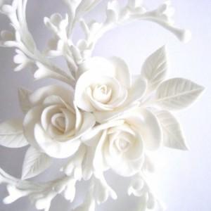 White Rose Hair Clip Wedding Hair Piece Bridal Hair fascinator Wedding Hair Flower Clay Flowers Bridal Hair Accessories