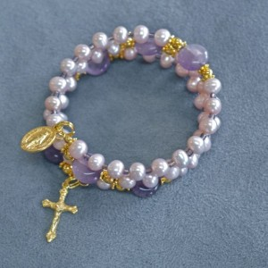 Child's Rosary Bracelet of Freshwater Pearl and Amethyst