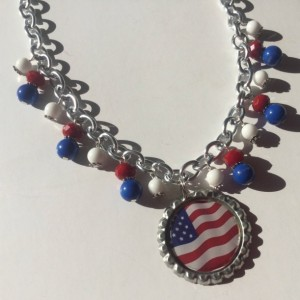 4th of July Necklace, Patriotic Necklace, Red White and Blue Necklace, American Flag Necklace, USA Necklace, Ready To Ship, Bib Necklace