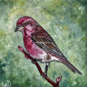 """Purple Finch"" original oil painting"