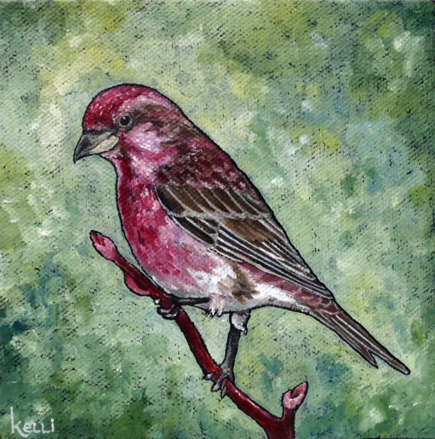 """Purple Finch"" original oil painting"