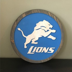 Detroit Lions Wood Carved Signs