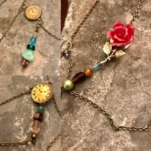 Vintage, Steampunk, Charm, Handmade, Asymmetrical, Layered Statement Choker, Pendant Charm Necklace with Clocks, Rose, Glass Beads